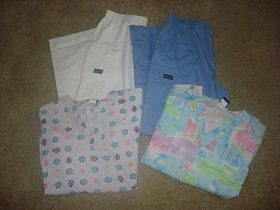 Lot of 4 Scrubs (2) Bottoms Pants Cherokee and (2)Tops Barco Size Medium M