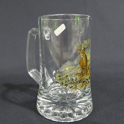 "Vintage Fiye Italy Heavy Glass Beer Mug ~ Painted Stag Germany 4¾"" Tall"