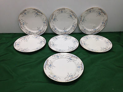 7 Imperial China Bread Plates #5303 Seville W. Dalton Blue Rose Gold Trim