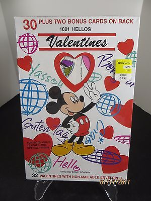 1001 Hellos Valentines Disney Mickey Mouse Sealed 30 pack