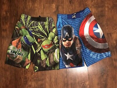 Marvel Captain America Nickelodeon Ninja Turtle Boys Swim Trunks Lot of 2 Large