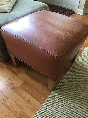 distressed leather ottoman foot stool