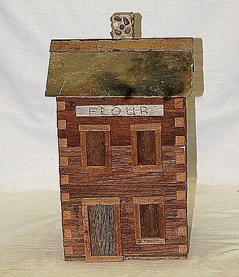 Hand Crafted Folk Art Wooden Log Cabin Flour Canister Slate Roof & Stone Chimney