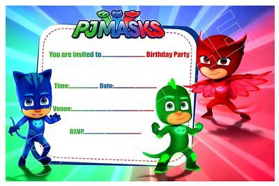1 X PJ MASKS CHILDRENS BLANK FILL IN DIY BIRTHDAY INVITATIONS FREE MAGNETS