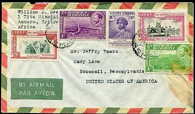 Ethiopia 1956 Airmail Cover Asmara to Pennsylvania, USA