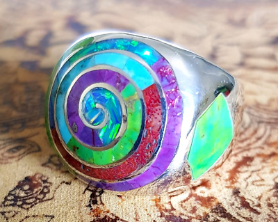 Multi-gemstone Spiral Ring, Sterling Silver, Bright Colours, NEW