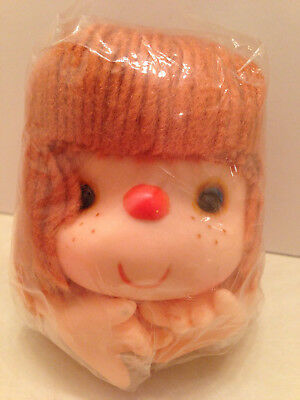 Yellow Yarn Hair Vintage Doll Head with Hands Molded Rubber