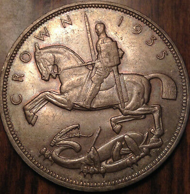 1935 Uk Gb Great Britain Silver Crown Close To Unc