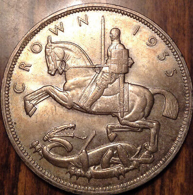 1935 Uk Gb Great Britain Silver Crown Lightly Toned And Very Close To Unc