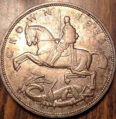 1935 Uk Gb Great Britain Silver Crown Toned Uncirculated