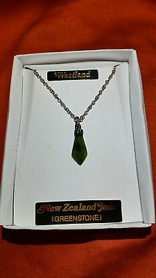 Vintage New Zealand Greenstone necklace / pendant. Westland. Nephrite pounamu.
