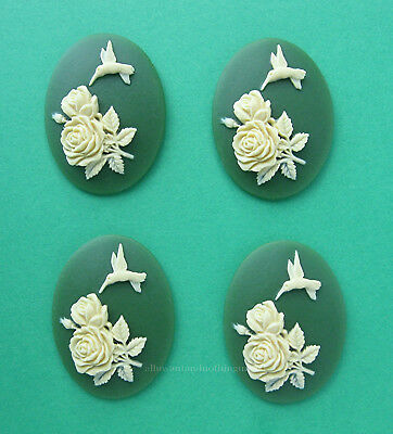 6 Fantasy IVORY color MERMAID on Green 40mm x 30mm Costume Jewelry Craft CAMEOS