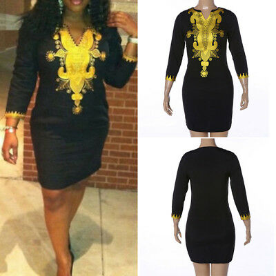 African Women Casual Dashiki Slim Fit Bodycon Party Evening Short Mini Dress New