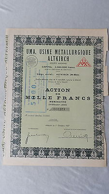 UMA-Usine Metallurgique Altkirch-Action 1000 Francs-1947