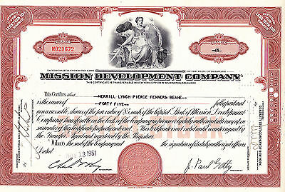 Mission Development Company-shares-1951 sig.John Paul Getty