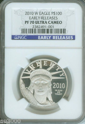 2010-W $100 PLATINUM STATUE LIBERTY 1 Oz. NGC PF70 PROOF PR70 EARLY RELEASES ER