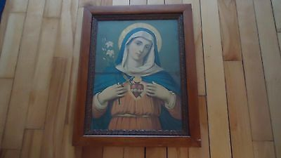 Antique Religious Picture In Beautiful Frame Wood Back Square Nails 24.5 X 19.5""