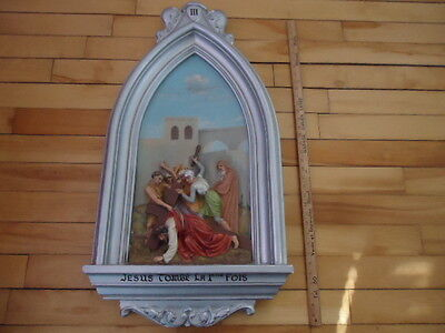 Antique Religious  Plaster  Station Of The Cross  # 3 Christian Church