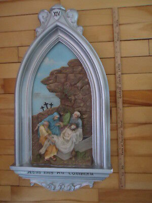 Antique Religious  Plaster  Station Of The Cross  # 14   Christian Church
