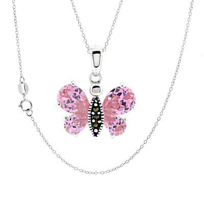 Sterling Silver Pink Cubic Zirconia Marcasite Butterfly Pendant/Necklace 18""