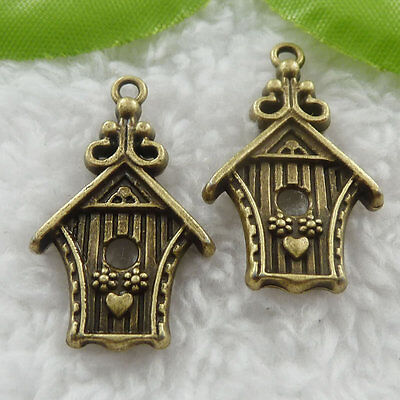 Free Ship 52 pcs bronze plated house pendant 30x18mm #732