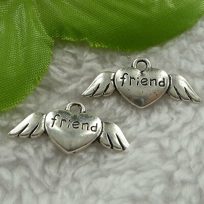 Free Ship 160 pieces tibet silver wing heart charms 27x12mm #1915