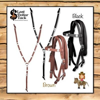 Western Bridle & Breast Collar Set ~ Durable Nylon With Star Conchos ~Small Pony