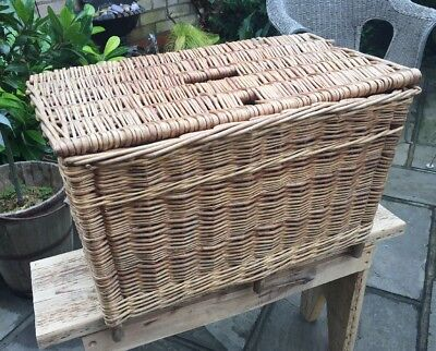 Large Rustic Vintage Wicker Fishing Basket ~ Flower Display Basket