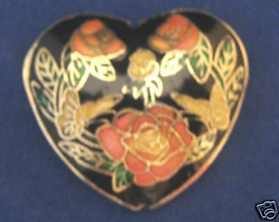 2-Cloisonne Designer AAA 45mm Focal Bead-Heart+FREE-glass pearls      (1A3)W2B