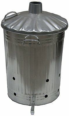 Fire Metal Incinerator Bin Waste Burner Grey 75 Litre Galvanised Rubbish