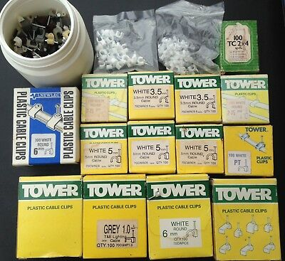 Job Lot of Approx 1500 Various Tower Electrical Cable Clips