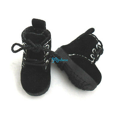 Mimiwoo Blythe Pullip Momoko Pure Neemo Obitsu 1/6 Doll Shoes Velvet Boots Black