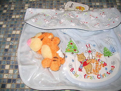 Disney Store Lumpy Or Tigger Baby's First Christmas Embroidered Bib & Toy New