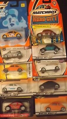 Matchbox Lot of 10 Volkswagens-VW Bettle-Concept 1- Blue's Clues-Hero City Taxi