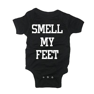 smell my feet one piece jumper baby outfit halloween trick or treat boys girls