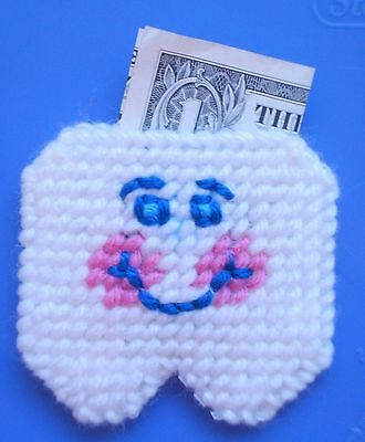 Tooth Fairy Pouch Smiling & Happy yarn and plastic canvas