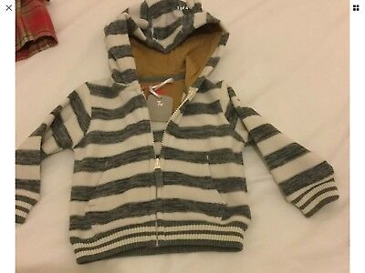 BNWT BOYS TU STRIPE  HOODED SOFT TOP AGE 3-6m WARM
