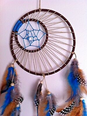 "Cherokee Handmade 20"" Dream Catcher Turquoise, Brown & Tan, Wood Beads, Feathers"