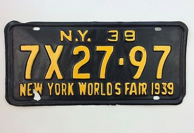 New York 1939 Old License Plate Worlds Fair NY 39 Black Car Tag Man Cave Repaint