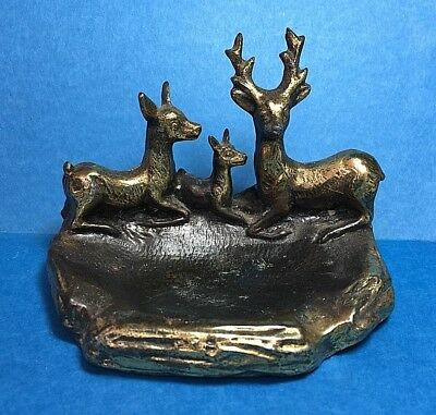 Vintage Metal Family of Deer Ash Tray or Coin Tray