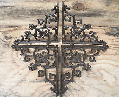 Lot/Set 4 Antique-Style Cast Iron FANCY 9.5 x 9.5 Shelving SHELF BRACKETS Hanger