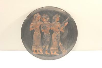 """Large 19.5"""" Mixed Metals Inlaid Egyptian Motif Charger Bronze Silver Copper #2-B"""
