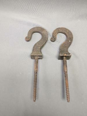 """2 Antique Cast Iron Victorian Ornate Plant Hooks Wall Ceiling 7"""" Long Patina"""
