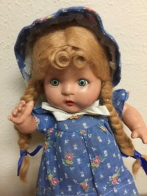 """13"""" Composition 1930's Horsman tin eyes mohair wig   pigtails -ALL ORIGINAL"""