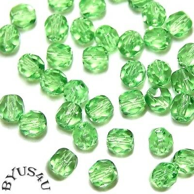 GLASS BEADS 4mm ROUND FACETED CZECH FIREPOLISHED MINT GREEN 100pc SALE