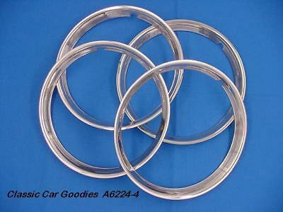 """Trim Rings Ribbed 14"""" Polished Stainless (4) Street Rod"""