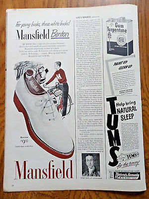 1950 Mansfield Benton Shoes Ad  for Young Bucks These White Bucks