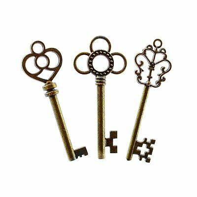 Antique Style Bronze Brass Skeleton Mixed Set Of 30 Large Keys Party Toy Gifts