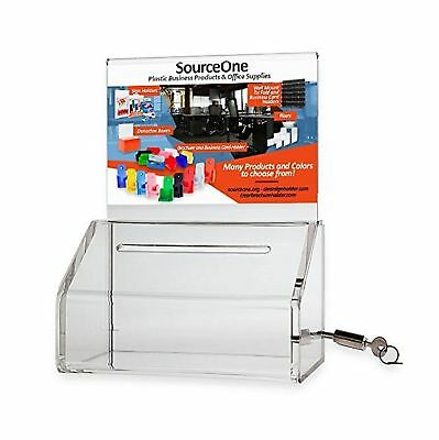 SourceOne Donation Box with Lock  5-Inch Wide Acrylic Storage Container  Clea...