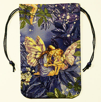 """Fairy Tarot Bag Drawstring Pouch 5""""x7"""" lined, for card decks - Twilight Whispers"""